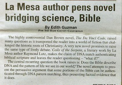 East County Californian Article: 'La Mesa author pens novel bridging science, Bible' Part 1